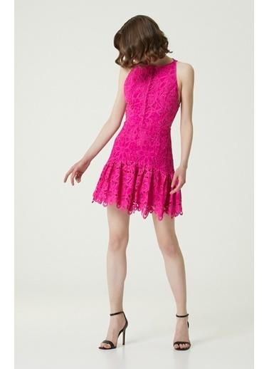NetWork Kadın 1079006 Slim Fit Mini Güpür Elbise Fuşya
